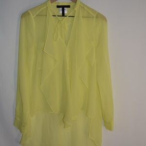 BCBG Maxazria Bouse Yellow Size XS High Low Long